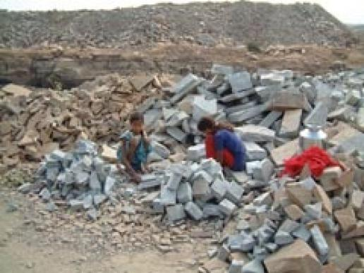 Children working in an Indian sandstone quarry. This is what Marshalls are fighting against.