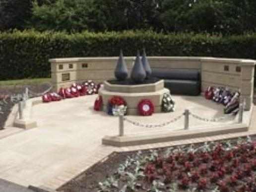 The Mansfield Heroes memorial in Bretton Moor sandstone and Angola Black granite.