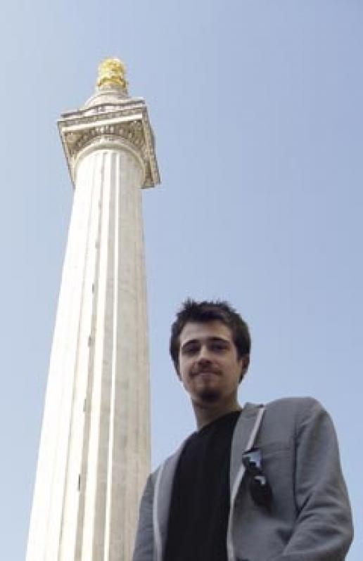 Samuel Bordoli, composer of 'Monument' at The Monument on 2 October.