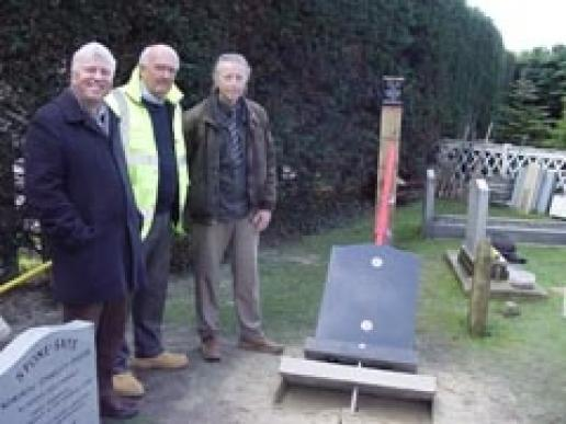 At the memorial fixing system test are (left to right) Prof Stuart Moy, Anton Matthews and Cllr Jim Brooks of Arun Council.