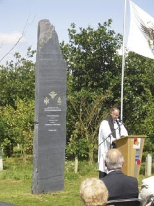 The new memorial to the Welsh Guards during its dedication ceremony at the National Memorial Arboretum.