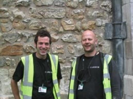 Peter Miles (left) and Patrick Orange, who have job placements with Carrek at the Tower of London thanks to the TBSBS.
