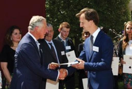 Stonemason Thomas Sargeant received his apprenticeship confirmation this year from Prince Charles, The Prince of Wales.
