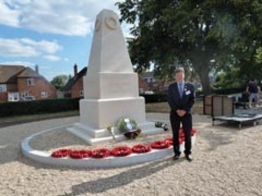 Award-winning mason Chris Berridge with the new War Memorial at Woodley.